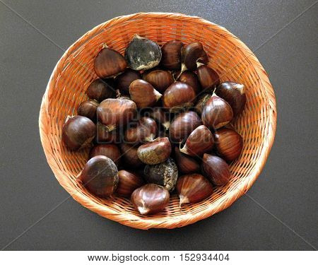 chestnuts to eat on a black background