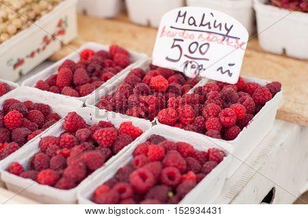 Organic Ripe Raspberries On Fresh Market