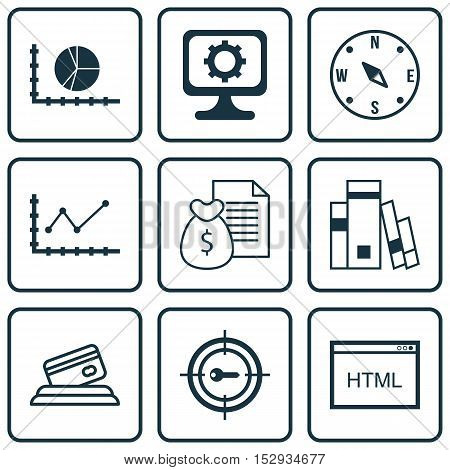 Set Of 9 Universal Editable Icons For Statistics, Computer Hardware And Advertising Topics. Includes