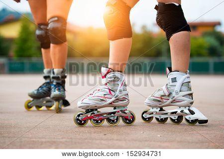 Detail Of Girls Rollerblading