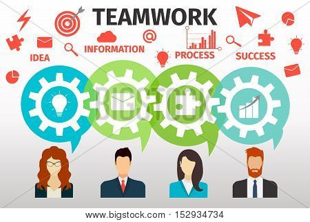 Concept of teamwork for web and infographic. Cogwheels. Vector illustration.