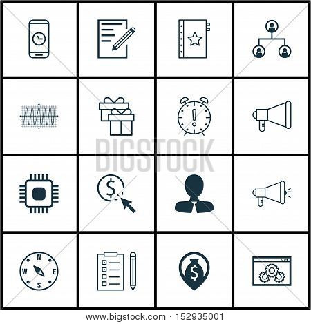 Set Of 16 Universal Editable Icons For Seo, Advertising And Management Topics. Includes Icons Such A