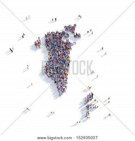 Large and creative group of people gathered together in the form of a map Bahrain, a map of the world. 3D illustration, isolated against a white background. 3D-rendering.