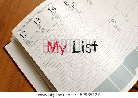My list text concept write on notebook