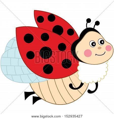 Vector cartoon cute colorful flying happy ladybug