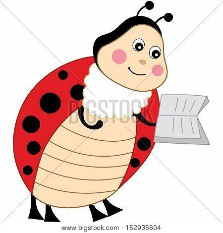 Vector cartoon cute colorful ladybug reading a book
