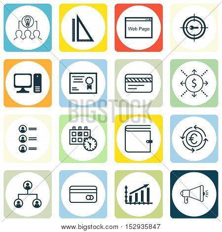 Set Of 16 Universal Editable Icons For Tourism, School And Transportation Topics. Includes Icons Suc
