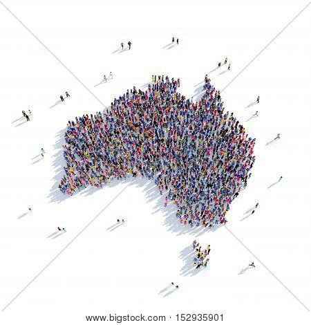 Large and creative group of people gathered together in the form of a map Australia, a map of the world. 3D illustration, isolated against a white background. 3D-rendering.