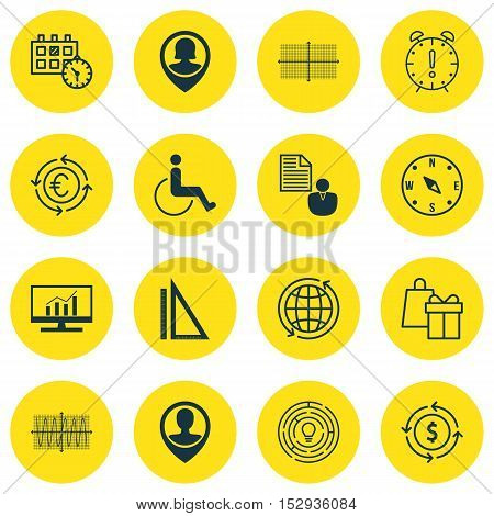 Set Of 16 Universal Editable Icons For School, Travel And Marketing Topics. Includes Icons Such As S