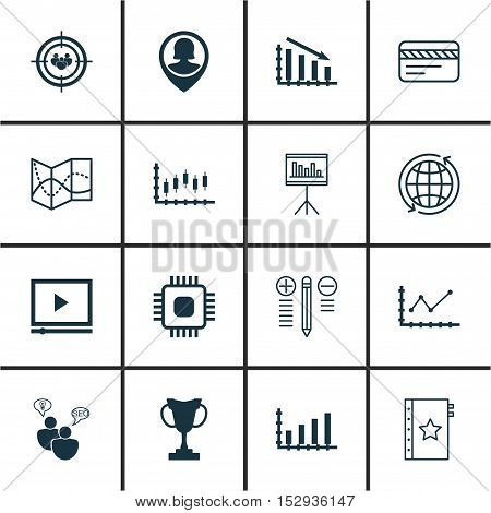 Set Of 16 Universal Editable Icons For Computer Hardware, Traveling And Statistics Topics. Includes