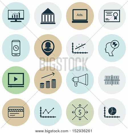 Set Of 16 Universal Editable Icons For Business Management, Education And Seo Topics. Includes Icons