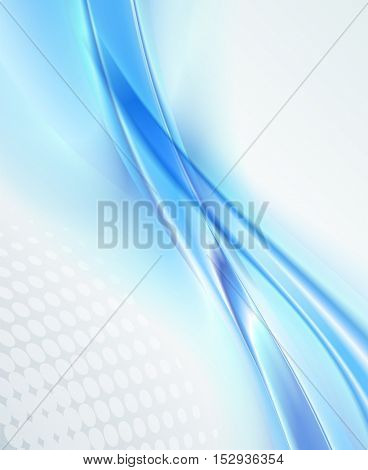 Abstract business background, blue wavy vector illustration
