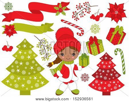 Vector Christmas set with African American little girl, tree, gift boxes, poinsettia
