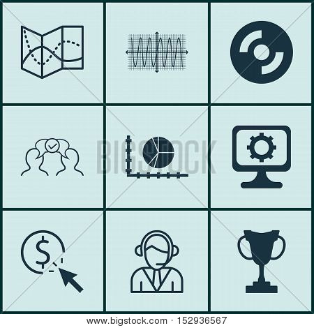 Set Of 9 Universal Editable Icons For Statistics, Computer Hardware And Marketing Topics. Includes I