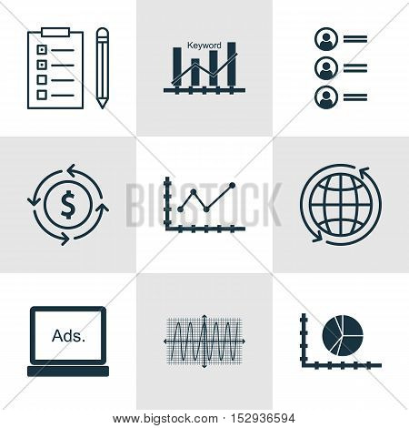Set Of 9 Universal Editable Icons For Project Management, Seo And Statistics Topics. Includes Icons