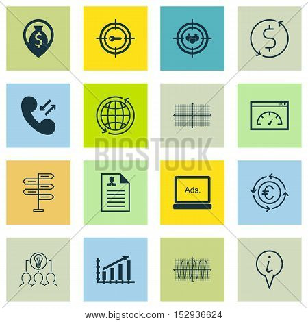 Set Of 16 Universal Editable Icons For Statistics, Management And Seo Topics. Includes Icons Such As
