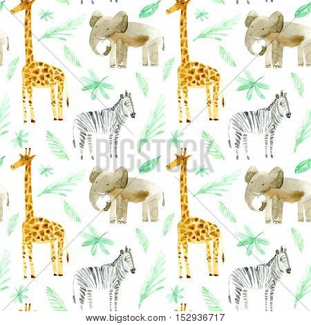 Seamless pattern with yellow giraffe, zebra, elephant and foliage.Watercolor hand drawn illustration.White background.Animals image.