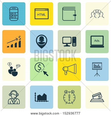 Set Of 16 Universal Editable Icons For Statistics, Marketing And Business Management Topics. Include