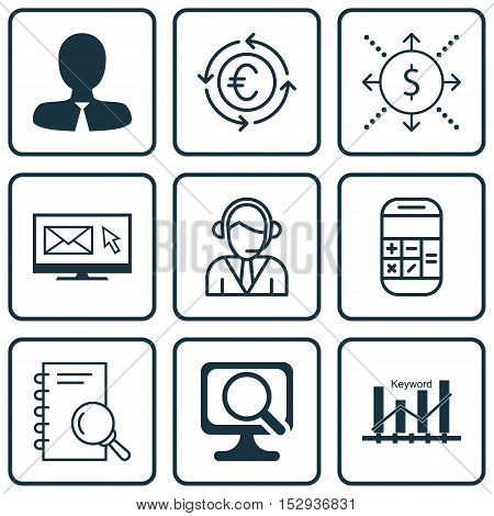 Set Of 9 Universal Editable Icons For Computer Hardware, Hr And Advertising Topics. Includes Icons S