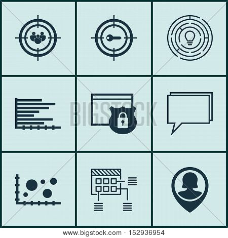 Set Of 9 Universal Editable Icons For Advertising, Statistics And Hr Topics. Includes Icons Such As