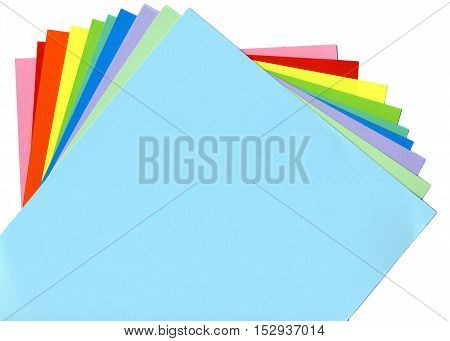Colored paper sheets arranged in a fan