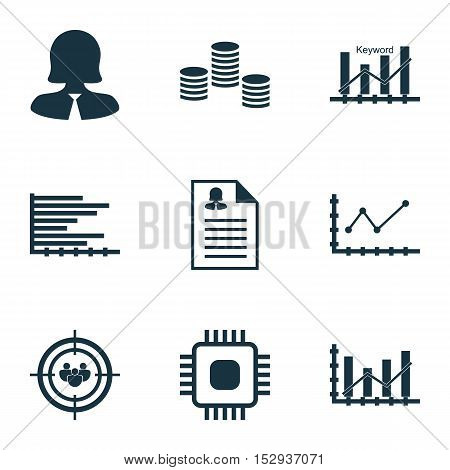 Set Of 9 Universal Editable Icons For Computer Hardware, Advertising And Seo Topics. Includes Icons