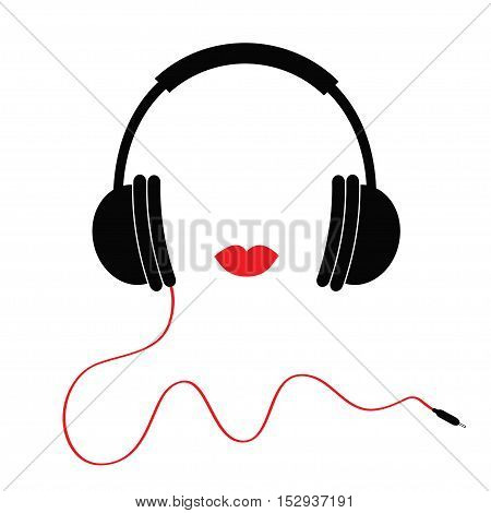 Headphones with red cord and lips Music card. Flat design icon White background Isolated Vector illustration