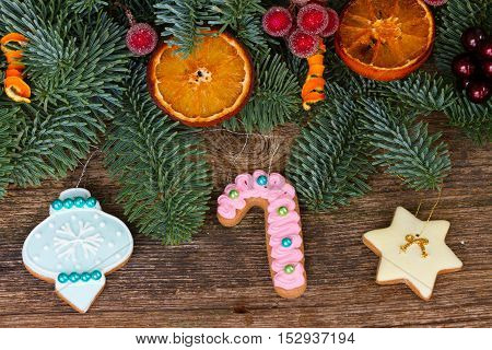 christmas gingerbread frosted cookies with decorated fir tree