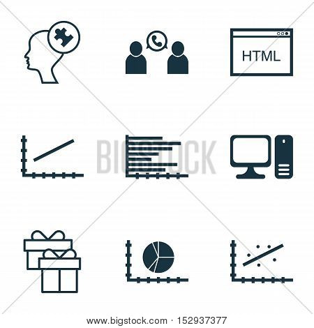 Set Of 9 Universal Editable Icons For Management, Business Management And Computer Hardware Topics.