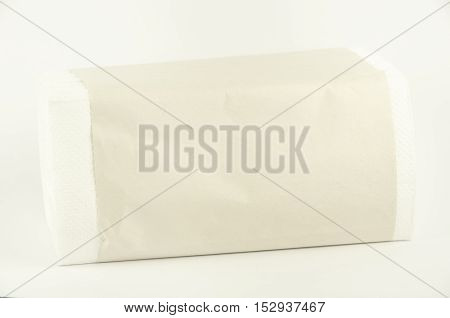 Paper napkins. They lie. Horizontal photo, white background