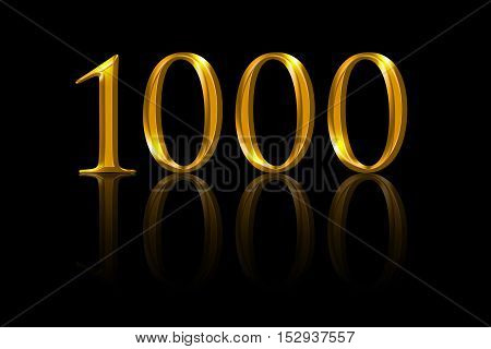 One thousand gold numbers on black background. A thousandth anniversary or attained value expressed with yellow orange colored metallic numerals. Illustration of reached aim.