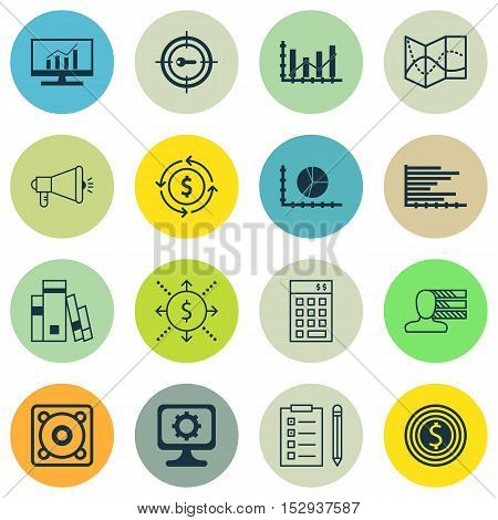 Set Of 16 Universal Editable Icons For Seo, Statistics And Computer Hardware Topics. Includes Icons