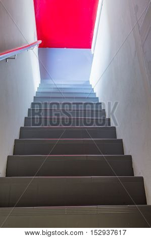 Stairs Steps With Red Background - Construction Detail.