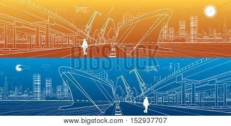 Transportation and industrial panorama. Cargo ship loading, boats on the water, sea harbor. Transport overpass, highway, urban scene, airplane fly, night city, people go on the pier. Vector design art