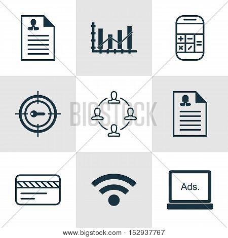 Set Of 9 Universal Editable Icons For Advertising, Computer Hardware And Project Management Topics.