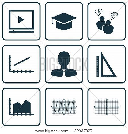 Set Of 9 Universal Editable Icons For Education, Statistics And Marketing Topics. Includes Icons Suc