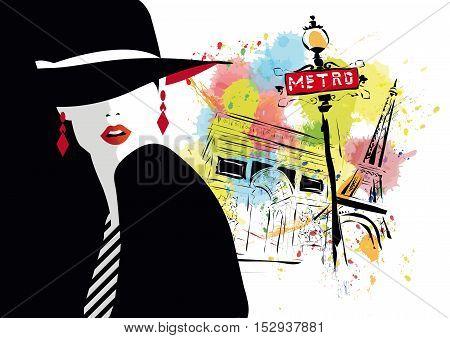 Fashion girl in style pop art. Vector illustration.
