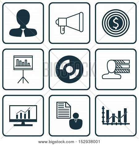Set Of 9 Universal Editable Icons For Statistics, Advertising And Project Management Topics. Include