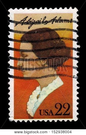 USA - CIRCA 1985: a stamp printed in United States of America shows Abigail Adams was the wife of President John Adams and the mother of John Quincy Adams, circa 1985