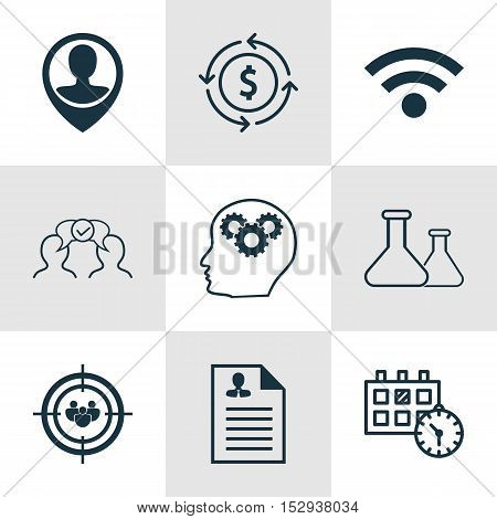 Set Of 9 Universal Editable Icons For Tourism, Management And Business Management Topics. Includes I