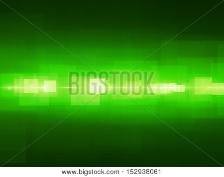 Green glowing rectangles fractal grid computing or media stream computer generated abstract background 3D render