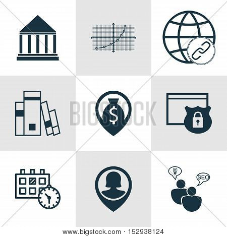 Set Of 9 Universal Editable Icons For Travel, Human Resources And Marketing Topics. Includes Icons S