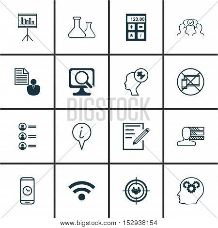Set Of 16 Universal Editable Icons For Business Management, Hr And Advertising Topics. Includes Icon