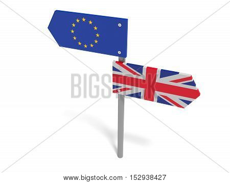 Brexit: UK And EU Road Sign Pointing In Opposite Directions 3d illustration