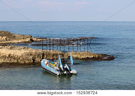 kayaking on the Mediterranean coast in the north of the State of Israel