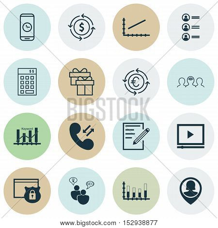 Set Of 16 Universal Editable Icons For Statistics, Management And Project Management Topics. Include