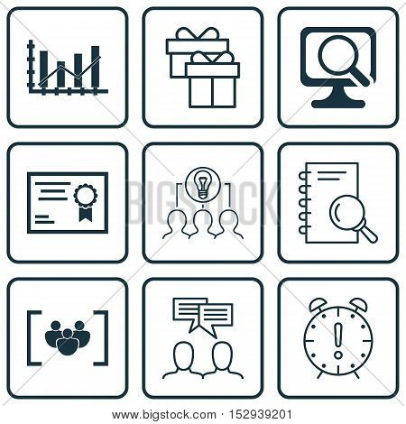 Set Of 9 Universal Editable Icons For School, Advertising And Travel Topics. Includes Icons Such As