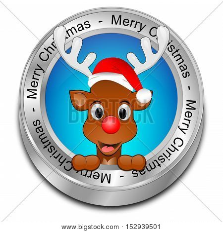 blue Reindeer wishing Merry Christmas Button - 3D illustration