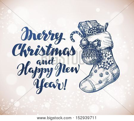 Merry Christmas and Happy New Year. Sketch greeting card vector