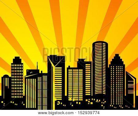 Abstract megapolis urban sunset background, vector illustration